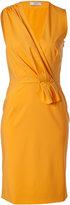 Ports 1961 Muskmelon Draped Wool-Blend Sheath Dress