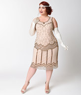 Unique Vintage Plus Size 1920s Style Rose & Bronze Beaded Morton Flapper Dress