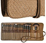 LA FERRA Professional Makeup Brushes with Beauty Blender Cleaning Mat and Soft Leather Case - Best Make Up Brush Set for Cosmetic Face Foundation Sets Eyeshadow Eye Kits Concealer Blush