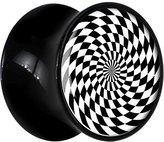 Body Candy Black Acrylic Black and White Spiral Saddle Plug Pair 13mm