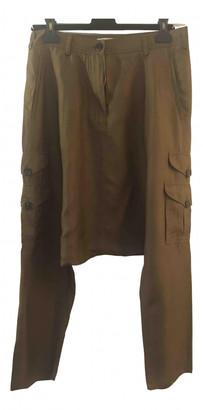 Christian Dior Khaki Silk Trousers