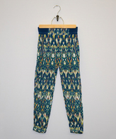 My Michelle Navy & Teal Geometric Pants - Girls