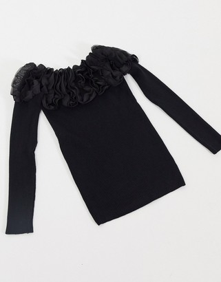 Qed London ribbed bardot jumper with ruffle neckline in black