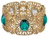 1928 Filigree Faceted Oval Stone Stretch Bracelet