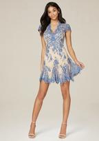 Bebe Valorie Lace Godet Dress