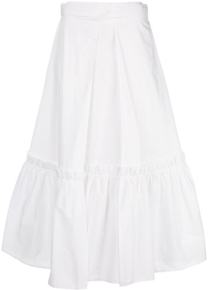 Rosetta Getty Flared Midi Skirt