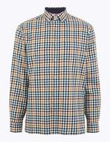 Blue HarbourMarks and Spencer Cotton Blend Checked Shirt