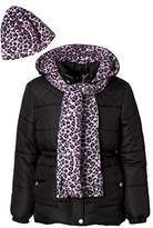 Pink Platinum Girls Puffer Jacket Set with Hat & Scarf – Leopard Print
