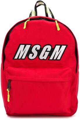 Msgm Kids Logo Print Backpack