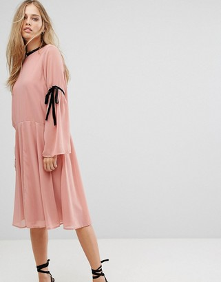 Vero Moda tie sleeve midi skater dress in pink