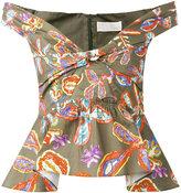 Peter Pilotto floral bardot bustier blouse - women - Cotton/Spandex/Elastane - 8