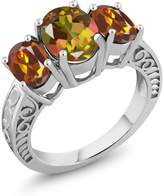 Gem Stone King 3.20 Ct Mango Mystic Topaz Orange Red Madeira Citrine 925 Sterling Silver Ring