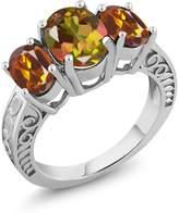 Gem Stone King 3.20 Ct Mango Mystic Topaz Orange Red Madeira Citrine 925 Sterling Silver Ring