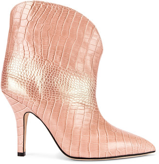 Paris Texas Iridescent Moc Croco Rounded Stiletto Ankle Boot in Pink | FWRD