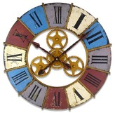 Infinity Instruments Color Wheel Gear Clock - Blue/ Red