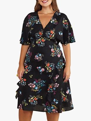 Yumi Curves Spring Time Floral Print Kimono Dress, Black