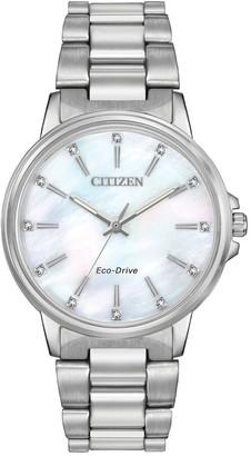 Citizen Women's Chandler Stainless Steel Swarovski Crystal Accented Watch, 37mm
