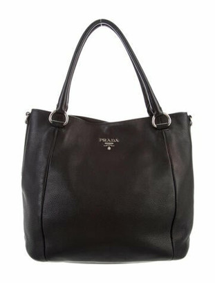 Prada Vitello Daino Large Tote Black