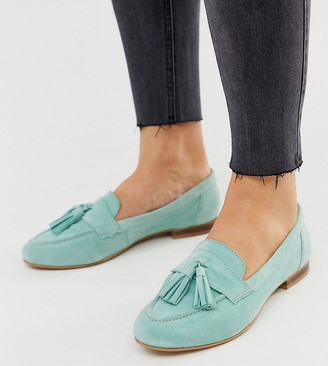 ASOS DESIGN Wide Fit Message suede tassel loafers in mint