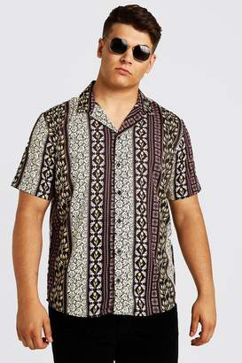 BoohoomanBoohooMAN Mens Brown Big & Tall Mixed Print Revere Collar Shirt, Brown