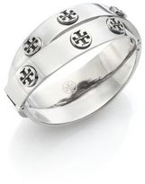 Tory Burch Studded Double-Wrap Logo Bracelet/Silvertone
