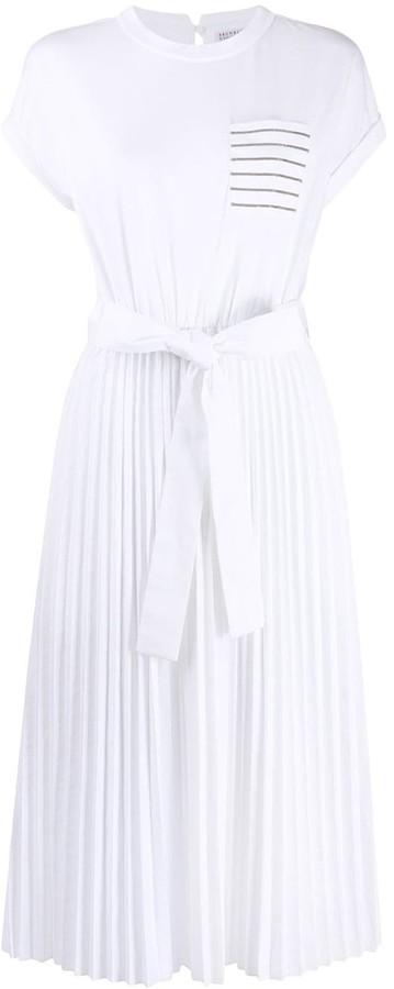 Brunello Cucinelli layered pleated-skirt T-shirt dress