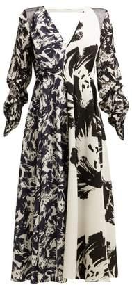 Roland Mouret Arthur Abstract-print Midi Dress - Womens - White Black
