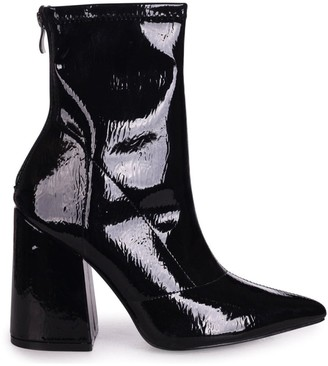 Linzi KITTY - Black Patent Soft Faux Leather Pointed Block Heel With Back Zip