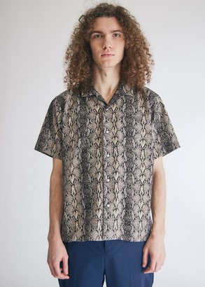 Gitman Brothers Men's Snakeskin SS Camp Shirt in Black, Size Small | 100% Cotton