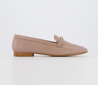 Office Fluent Metal Trim Loafers Nude Leather