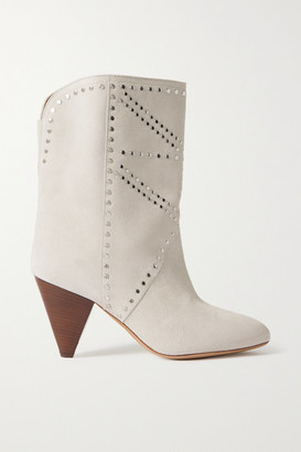 Isabel Marant Deezia Studded Suede Ankle Boots - Off-white