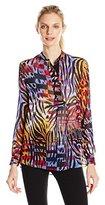 Anne Klein Women's Printed Chiffon Long Sleeve Top