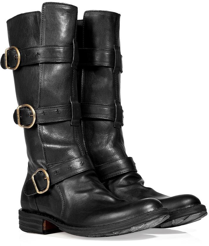 Fiorentini+Baker Fiorentini & Baker Black Leather Buckled Strap Boots