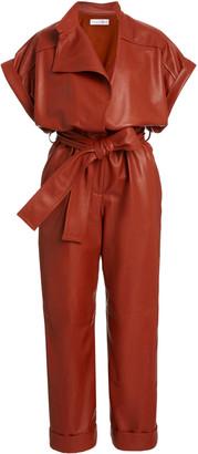 Oscar de la Renta Belted Leather Jumpsuit