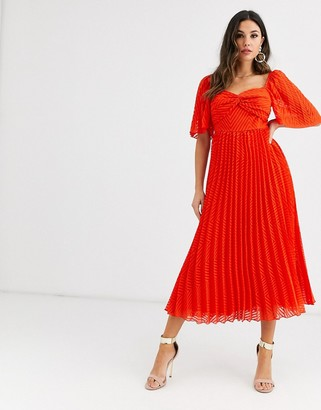 Asos Design DESIGN twist front pleated midi dress with angel sleeve in chevron dobby-Red