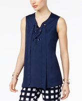 Alfani PRIMA Grommet-Trim Lace-Up Top, Created for Macy's