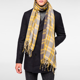 Paul Smith Men's Grey 'Bright Check' Wool Scarf