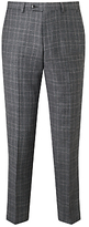John Lewis Italian Super 110s Wool Milled Check Tailored Suit Trousers, Grey