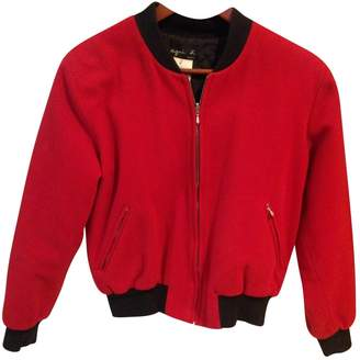 agnès b. Red Wool Leather Jacket for Women