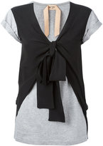 No.21 v-neck layered T-shirt - women - Cotton/Acetate/Silk - 38