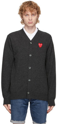 Comme des Garcons Grey Wool Double Heart V-Neck Cardigan