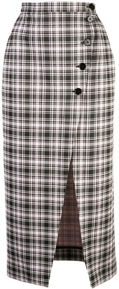 ALEXACHUNG High-Waist Plaid Skirt