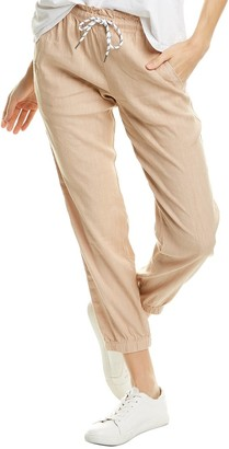 Monrow Bungee Cord Linen-Blend Paperbag Pant