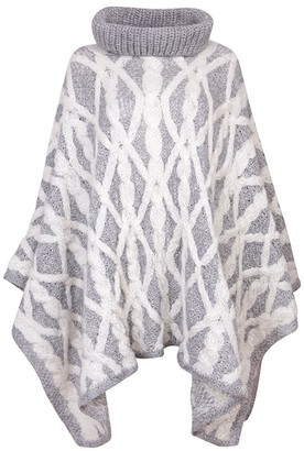 Zut London Alpaca Blend Hand Knitted Cable Roll Neck Oversized Poncho - Grey & White