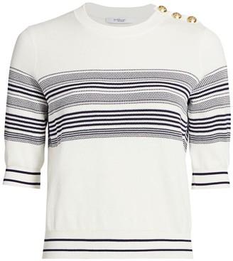 Derek Lam 10 Crosby Diana Short-Sleeve Striped Pullover