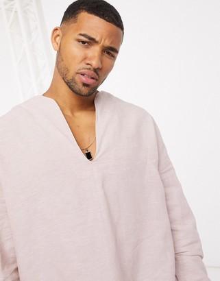 ASOS DESIGN regular fit overhead linen shirt in pink