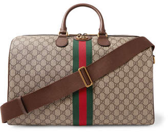 Gucci Ophidia Leather-Trimmed Monogrammed Coated-Canvas Holdall