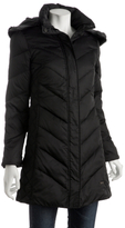 black quilted hooded long down jacket