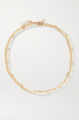 Eliou Victoria Gold-plated Pearl Body Chain