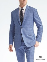 Banana Republic Slim Monogram Blue Plaid Wool Blend Suit Jacket
